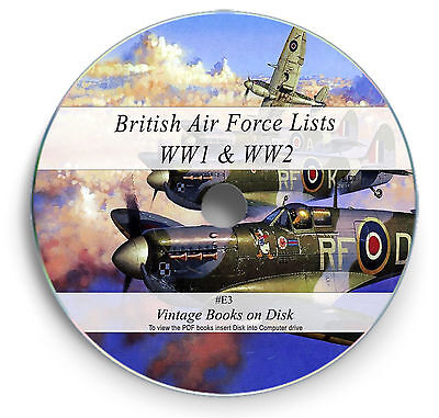 RAF WW1 & 2 Lists 90 Rare Books on DVD - Royal Air Force Flying Corps History E3