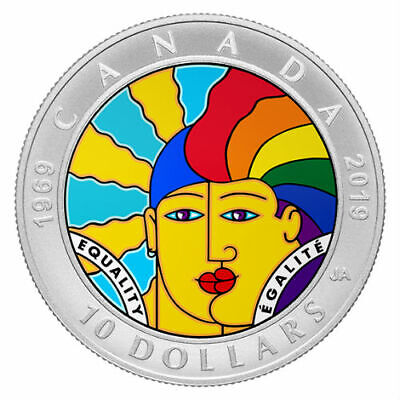 EQUALITY - 1969-2019 50th Anniversary $10 Pure Silver Colour Coin Canada