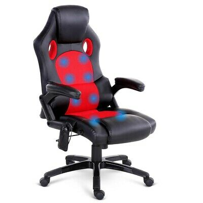 Massaging Office Chair w 8 Point Heated Massage Function PU Racing Leather Red