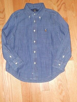 NWT - Ralph Lauren long sleeved blue chambray button down collared shirt - 3T