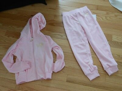 NWT - Juicy Couture 2pc pink & gold velour hooded pants outfit - 5 girls