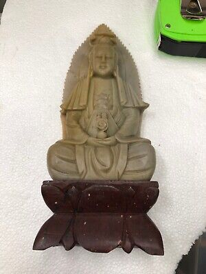Vintage Chinese Asian Kwan Yin Soapstone or Jade Carving, Goddess of Mercy