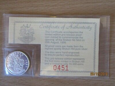 One Limited Edition 1990 Broken Hill Mint Silver Proof Coin