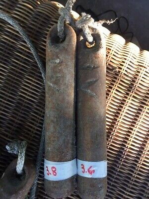 Vintage 4# Pound Cast Iron Window Sash Weight Set Lot of 2