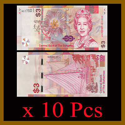 Bahamas 3 Dollars x 10 Pcs, 2019 P-New Queen Elizabeth Beach Unc