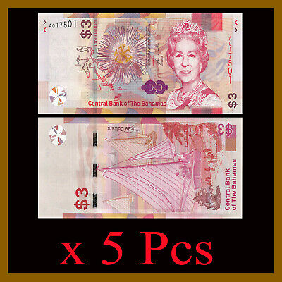 Bahamas 3 Dollars x 5 Pcs , 2019 P-New Queen Elizabeth Beach Unc