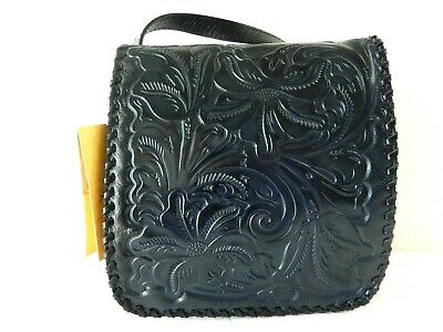 NWT $189 Patricia Nash-Navy Burnished Tooled- Granada Crossbody-Floral-Leather