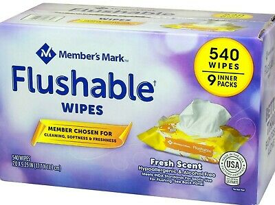 Member's Mark Flushable Wipes (9 pk, 540 wipes) ***FAST FREE SHIPPING***