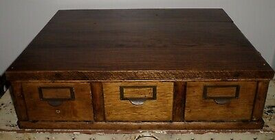 Htf Stackable Barrister Antique Oak Library Card File Catalog Cabinet 3 Drawer