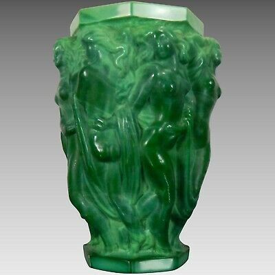 Antique Rare Schelvogt Art Deco Malachite Glass Vase Olympia Czech Republic