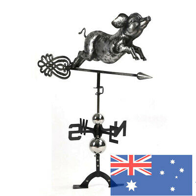 Jumping Piggy WeathervaneStainless Steel Finish Weather Vane Hand Crafted Decor