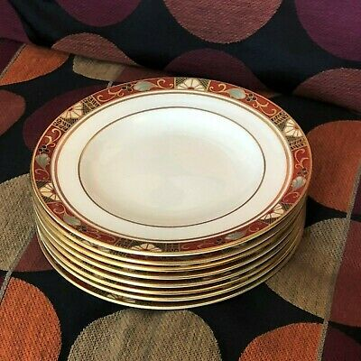 Lovely Set of 8 Royal Crown Derby Cloisonne Bread Plates