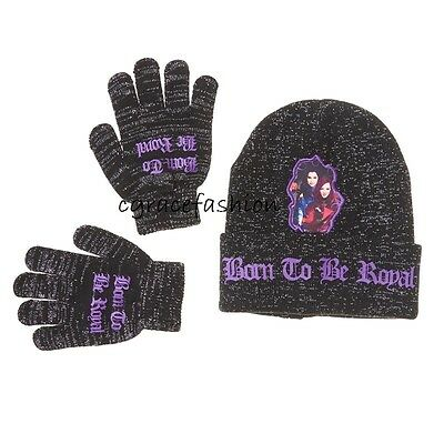 more photos 74d97 a8c3b Disney Descendants Evie Mal Girl Glitter Beanie Winter Snow Hat Cap Gloves  Set