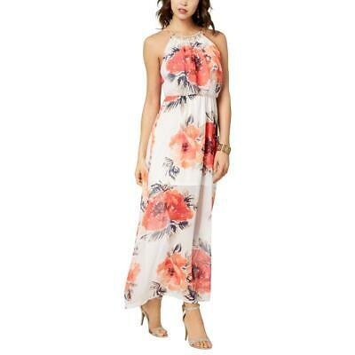 9bce6bf99b2 Crystal Doll Womens Ivory Floral Print Beaded Maxi Dress Juniors S BHFO 3281