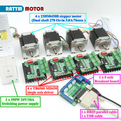 Dual Shaft! 4 Axis Nema23 76mm Stepper Motor 270Oz-in&Motor Driver&Power supply