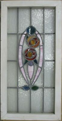 """LARGE OLD ENGLISH LEADED STAINED GLASS WINDOW Stunning Floral 17.5"""" x 34.5"""""""