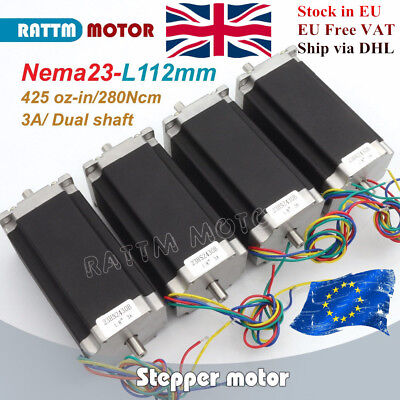 【UK】4P NEMA23 Stepper motor Dual shaft 425oz.in/2.8N/3A 112mm for CNC Engraving