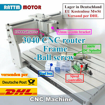 UK Desktop 3 Axis 3040 CNC Router Engraver Milling Machine Frame+300W DC Spindle