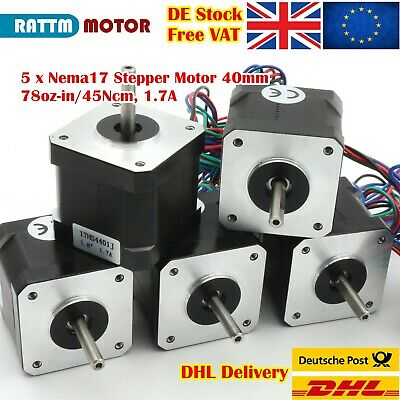 5P Nema17 64oz-in 40mm CNC Stepping Motor 1.7A&4 Pin 1M Cable for 3D Printer【UK】