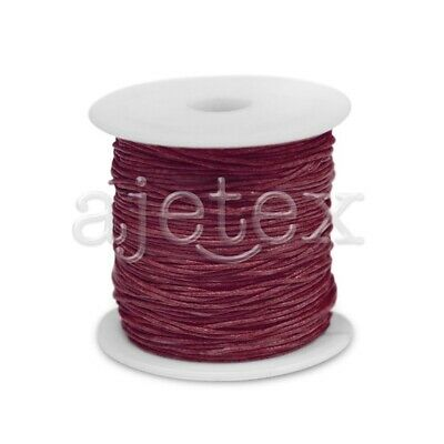 1 Roll 70M Waxed Cotton Cord Jewellery Craft Beading Thread 0.8mm Wine Red