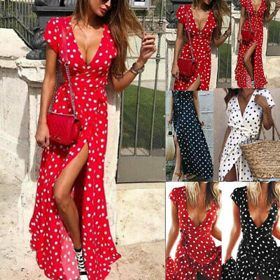 Plus Size Women Wrap V-neck Long Shirt Dress Summer Holiday Polka Dot Maxi Dress