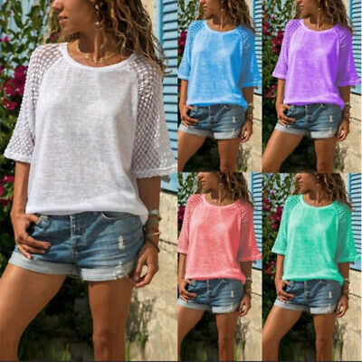 Womens Summer Lace Tops Blouse Ladies Casual Loose Casual T Shirts Basic Tee Top