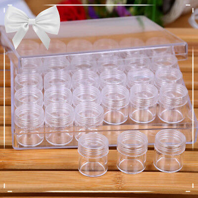 30PCS Plastic Round Bottle Storage Box Jewelry Beads Makeup Container Case Jar &