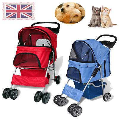 New Pet Folding Stroller dog/cat Travel Carrier Swivel Wheels Pushchair Blue/Red