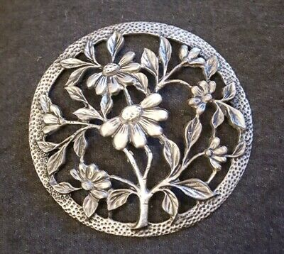Vtg Ornate Floral Pewter Lid For Wood Potpourri Bowl Apothecary Candle Glass Jar