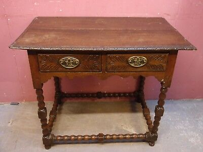 Small Antique Oak Rustic Design Side Table With 2 Drawers