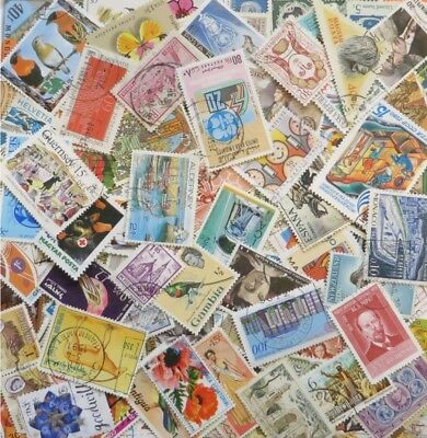 100 Different All World Mixed Stamps mainly off paper