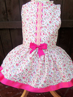 Dream Girls Spanish Romany Summer  Ivory Pink  Floral Lined Dress 0-6  Years