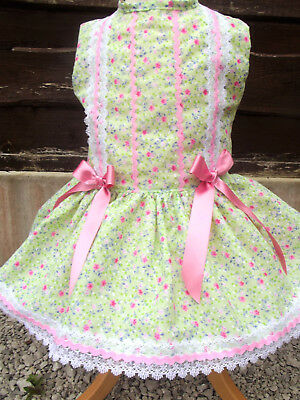 Dream Girls Spanish Romany Summer  Lime Neon Floral Lined Dress 0-7  Years