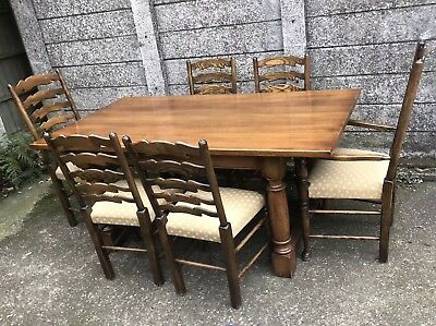 Large French Solid Oak Farmhouse Dining Table & 6 Matching Chairs We Deliver