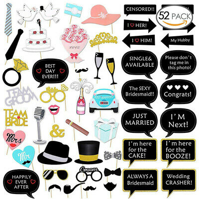 52x Wedding Photo Booth Props Engagement Photography Hen Evening Party Selfie UK