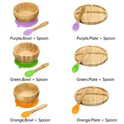 Baby Bamboo Suction Bowl Matching Spoon Set, Stay Put Suction Feeding Bowl NEW