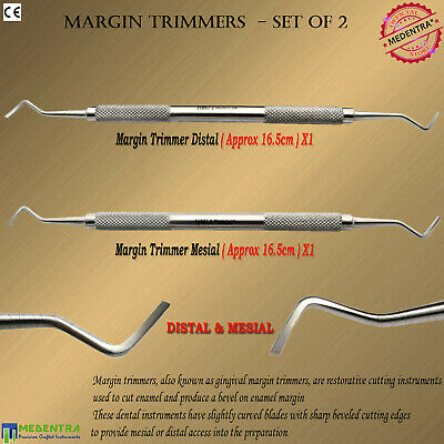 2Pcs Gingival Margin Trimmers Set Mesial / Distal Sharp Beveled Cutting Edges CE