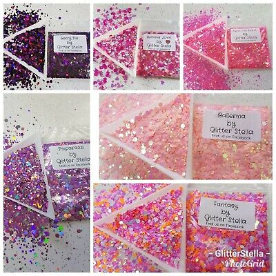 Nail Art Chunky Glitter 5g Bags Pink Purple Selection Craft Festival Dance Party