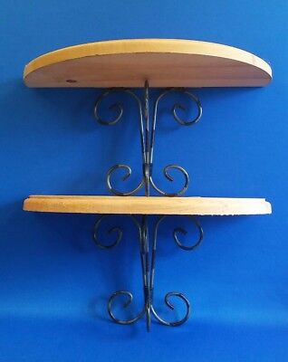 """2 pcs Country French Tuscan Wall Shelf Wood & Wrought Iron 14"""" Wide"""