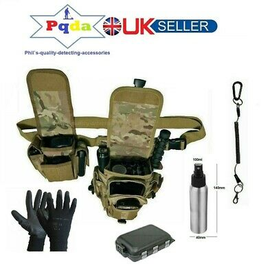 Metal Detecting Finds Accessory Bag Combo,CP Camo, + Coiled Lanyard + Belt Pouch