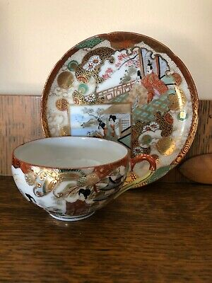 Antique Japanese Eggshell Porcelain Tea Cups - very fine hand-painted Signed