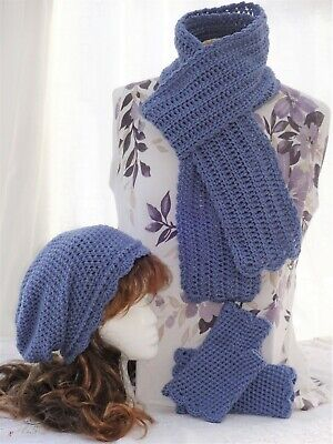 Handmade Crochet Ladies Hat Gloves and Scarf set - Ideal Gift - various colours
