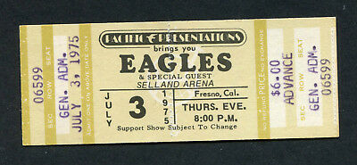 Original 1975 Eagles unused Full concert ticket Selland Fresno Hotel California