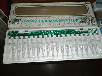 Vintage Retro Premier Christmas Tree Hanging Icicle Lights 20 Push In Lights