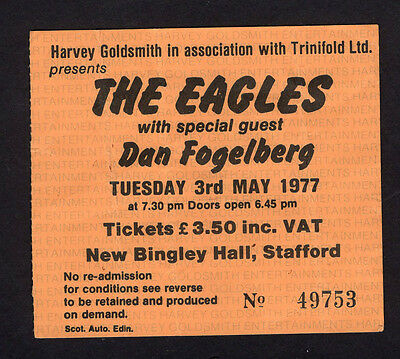 1977 Eagles Dan Fogelberg concert ticket stub Stafford UK Hotel California