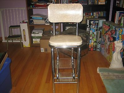 Vintage  Step Stool Chair-Steps Roll Out