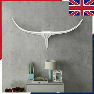 Bull's Head Decoration Wall Mounted Aluminium Silver Statue Multi Sizes indoor