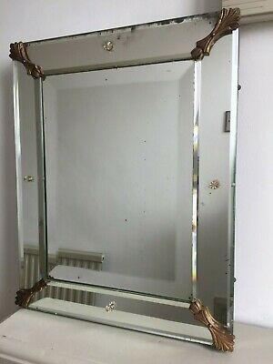 19thC Antique French Frameless Wall Mirror c.1850 Original Back 47x38cm m211