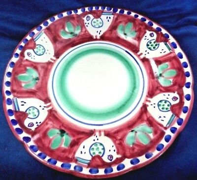 2 Lovely Vintage Poultry Plates Red Green Salimene Hand Painted