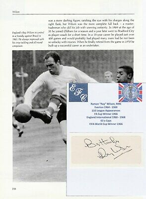 Ray Wilson Everton Original Football Autograph Cutting With Annual Picture